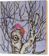 Red Birds On A Withered Tree Wood Print
