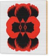 Red Black Botanical Summer Wood Print