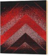 Red Black Chevron Wood Print