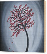 Red Black Tree Painting Wood Print