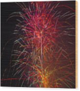 Red Blazing Fireworks Wood Print
