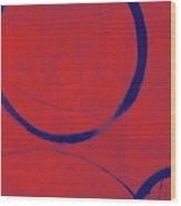 Red Blue Ensos Wood Print