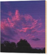 Red Blue Sky Wood Print