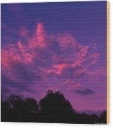 Red Blue Sky Wood Print