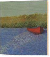 Red Boat - Plum Island Basin Wood Print