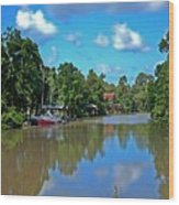 Red Boat And The Magnolia River Wood Print