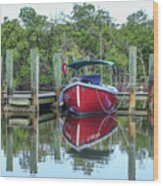 Red Boat Docked Florida Wood Print