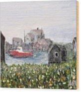 Red Boat In Peggys Cove Nova Scotia  Wood Print