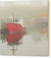 Red Boat In The Fog Wood Print