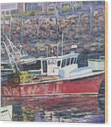 Red Boat Reflections Wood Print