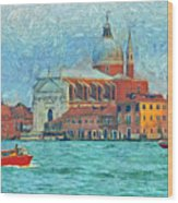 Red Boat Venice Wood Print
