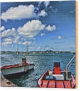 Red Boats At Blue Pier Wood Print