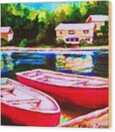 Red Boats At The Lake Wood Print