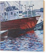 Red Boats Wood Print