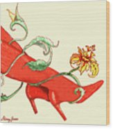 Red Boots Wood Print