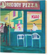 Red Boy Pizza Wood Print