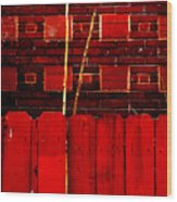 Red Brick And Sticks Wood Print
