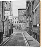 red brick buildings in narrow back turner street Northern quarter Manchester uk Wood Print