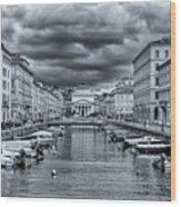 Red Bridge Canal Wood Print
