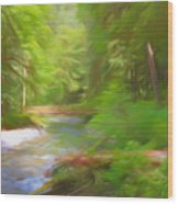 Red Bridge In Green Forest Wood Print
