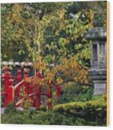 Red Bridge & Japanese Lantern, Autumn Wood Print by The Irish Image Collection