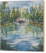 Red Bridge On Lake In The Ozarks Wood Print