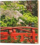 Red Bridge Springtime Wood Print