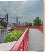 Red Bridge To Chicago Wood Print