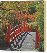 Red Bridge With Shadows Wood Print