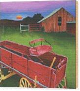 Red Buckboard Wagon Wood Print