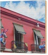 Red Building And Alebrije Wood Print