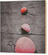 Red Buoys  Wood Print