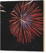 Red Burst Wood Print