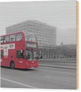 Red Buss In London Wood Print