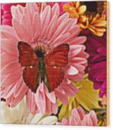 Red Butterfly On Bunch Of Flowers Wood Print by Garry Gay