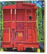Red Caboose Wood Print