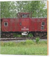 Red Caboose In The Rain Wood Print
