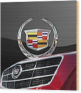 Red Cadillac C T S - Front Grill Ornament And 3d Badge On Black Wood Print by Serge Averbukh