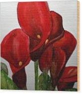 Red Callas Wood Print
