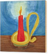 Red Candle Lighting Up The Dark Blue Night. Wood Print