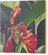 Red Cannas Wood Print by Deleas Kilgore