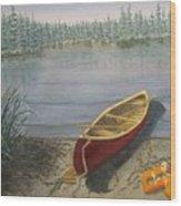 Red Canoe 3  Wood Print