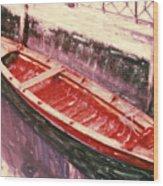 Red Canoe Wood Print by Linda Scharck