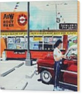 Red Car At The A And W Wood Print