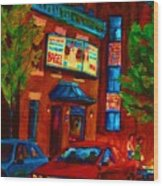 Red Car Blue Sky Wood Print