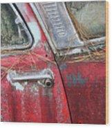 Red Car Door Handle Wood Print