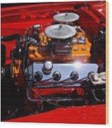 Red Car Engine  Wood Print