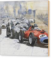 1957 Red Car Ferrari 801 German Gp 1957  Wood Print