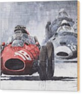 Red Car Ferrari D426 1958 Monza Phill Hill Wood Print