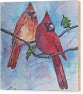 Red Cardinals Wood Print
